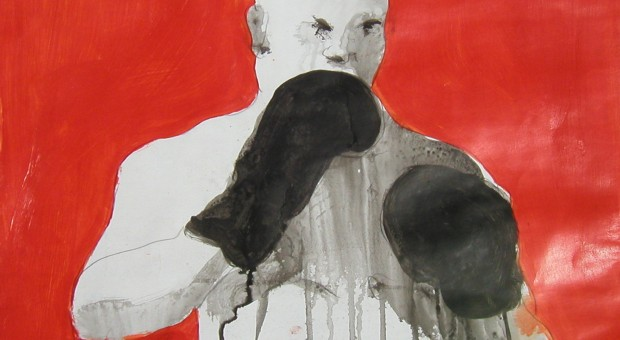 Bald Boxer in Red by George Spencer